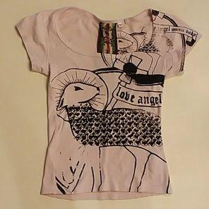 L.A.M.B. Gwen Stefani pink scoop neck t-shirt xs